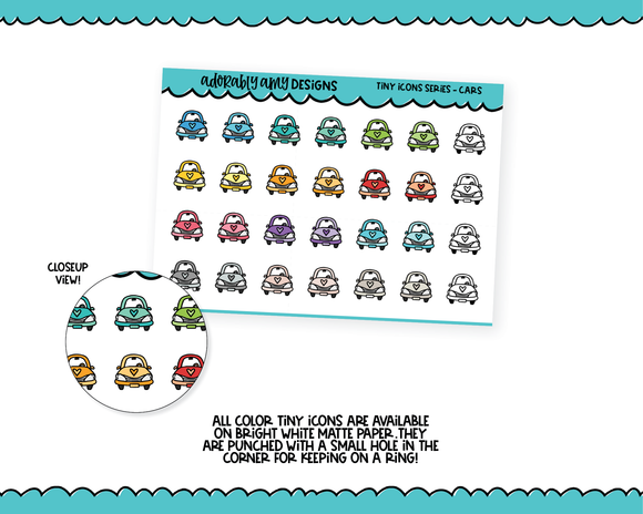 Color Tiny Icon Series - Cars Travel Tiny Size Planner Stickers for any Planner or Insert