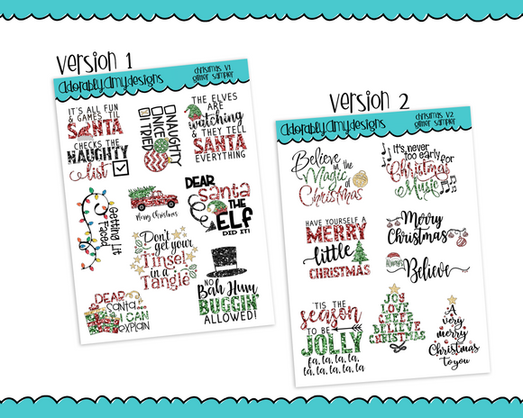 Glitter Christmas Sampler Typography Planner Stickers for Erin Condren, Plum Planner, Inkwell Press, Kikki K or Any Size Planners