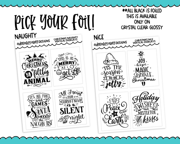 Foiled Naughty or Nice Christmas Holidays Overlays for Horizontal, Vertical or PP Weeks Planner Stickers for Erin Condren, Plum Planner, PP Weeks or Any Size Planners