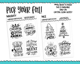 Foiled Naughty or Nice Christmas Holidays Overlays for Horizontal, Vertical or PP Weeks Planner Stickers for Erin Condren, Plum Planner, PP Weeks or Any Size Planners - Adorably Amy Designs
