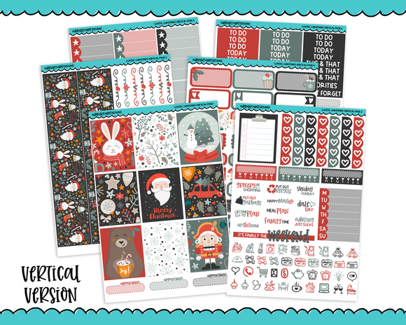 Vertical Classic Christmas Themed Planner Sticker Kit for Vertical Standard Size Planners or Inserts - Adorably Amy Designs