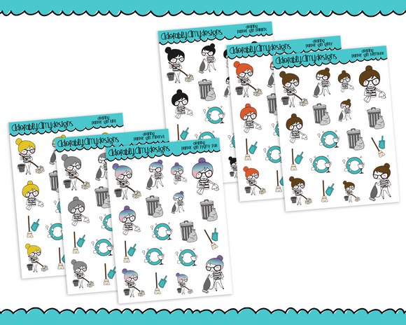 Planner Girls Character Stickers Cleaning Reminder Decoration Planner Stickers for any Planner or Insert - Adorably Amy Designs