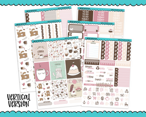 Vertical Coffee Is Love Planner Sticker Kit for Vertical Standard Size Planners or Inserts - Adorably Amy Designs