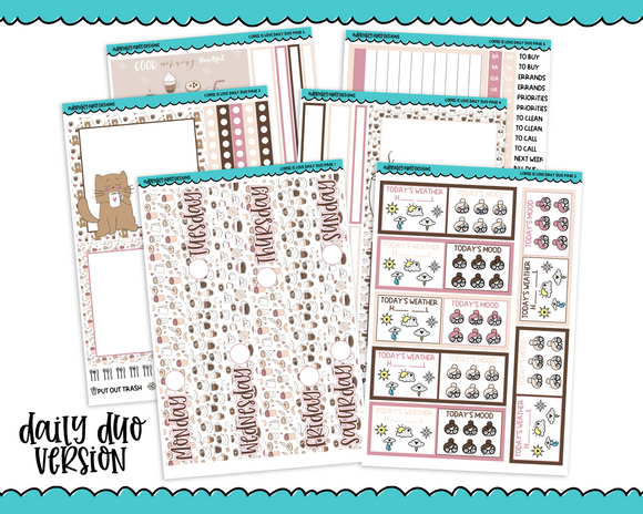 Daily Duo Coffee is Love Cat Coffee and Pastries Themed Weekly Planner Sticker Kit for Daily Duo Planner - Adorably Amy Designs