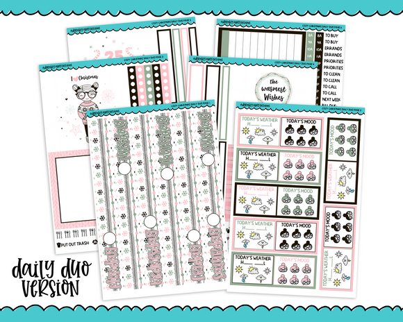 Daily Duo Cozy Christmas Holiday Themed Weekly Planner Sticker Kit for Daily Duo Planner