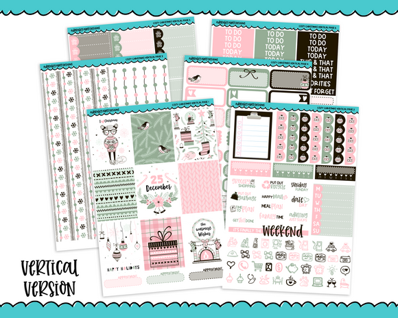 Vertical Cozy Christmas Graphic Style Christmas Holiday Themed Themed Planner Sticker Kit for Vertical Standard Size Planners or Inserts - Adorably Amy Designs