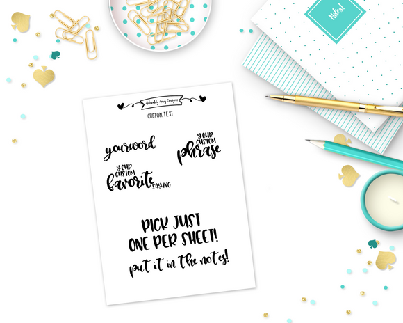 Foiled Custom Word/Phrase Stickers Planner Stickers for any Planner or Insert - Adorably Amy Designs
