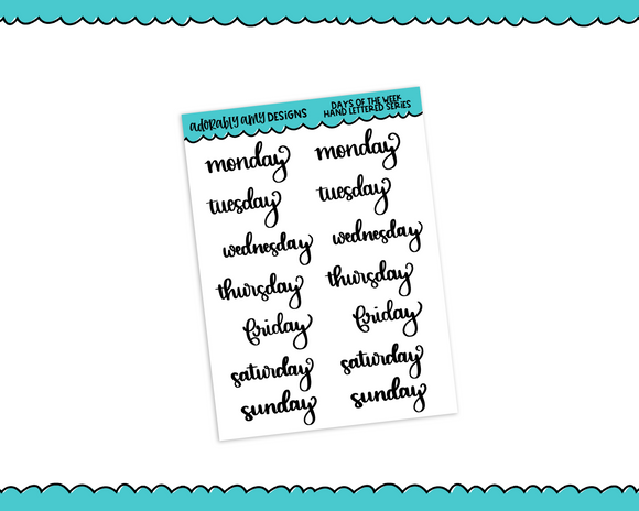 Hand Lettered Days of the Week Planner Stickers for any Planner or Insert - Adorably Amy Designs