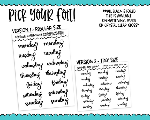 Foiled Hand Lettered Days of the Week Planner Stickers for Erin Condren, Plum Planner, Happy Planner, TN, or Any Size Planners