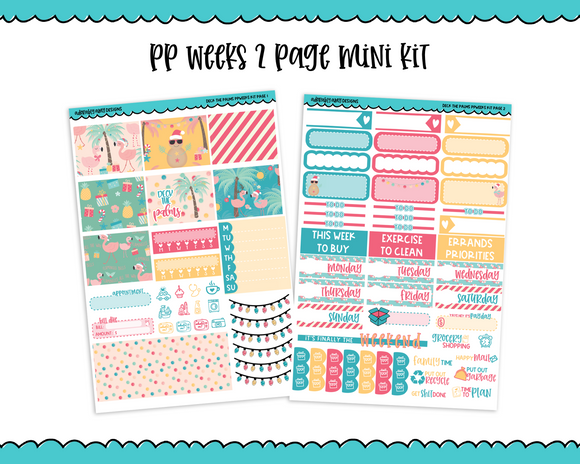 PP Weeks Deck the Palms Tropical Winter Holiday Themed Weekly Kit sized for PP Weeks Planner or ANY Vertical Insert - Adorably Amy Designs