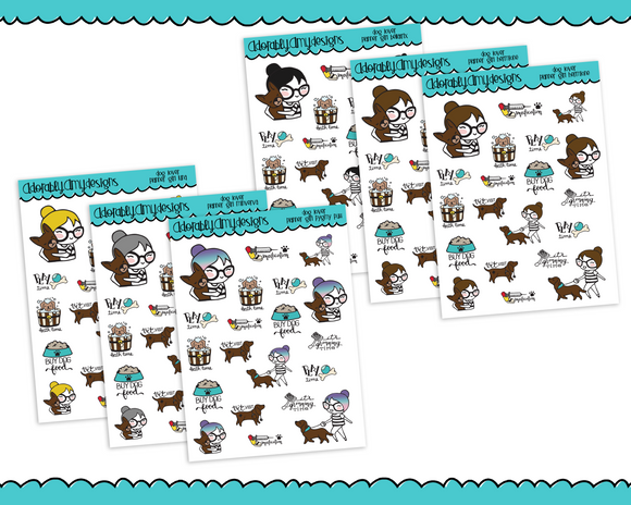 Planner Girls Character Stickers Dog Lover Decoration Planner Stickers for Erin Condren,  Happy Planner, or Any Size Planners