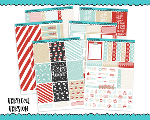 Vertical Sweet n Simple Enjoy Winter Snow and Winter Patterns Planner Sticker Kit for Vertical Standard Size Planners or Inserts - Adorably Amy Designs