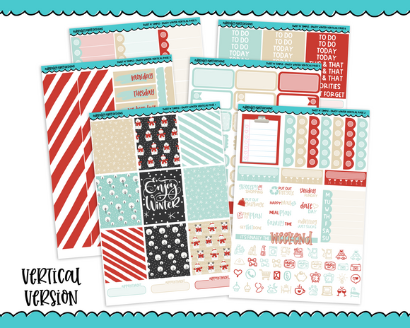 Vertical Sweet n Simple Enjoy Winter Snow and Winter Patterns Planner Sticker Kit for Erin Condren, Happy Planner or Any Other Planner - Adorably Amy Designs
