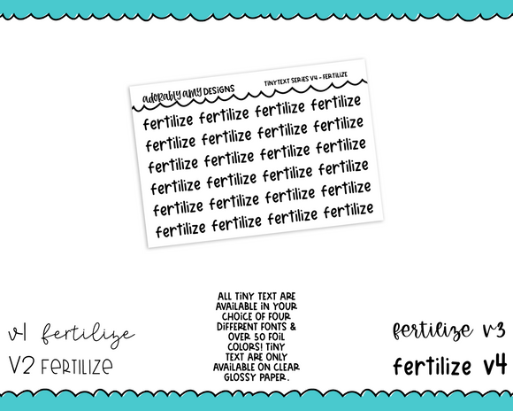 Foiled Tiny Text Series - Fertilize Checklist Size Planner Stickers for any Planner or Insert