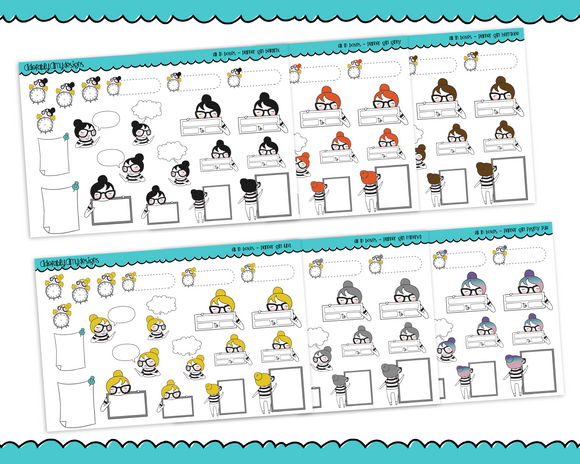 Planner Girls Character Stickers Fill In Boxes Appointment Labels Boxes Sticky Notes Planner Stickers for Erin Condren,  Happy Planner, or Any Size Planners