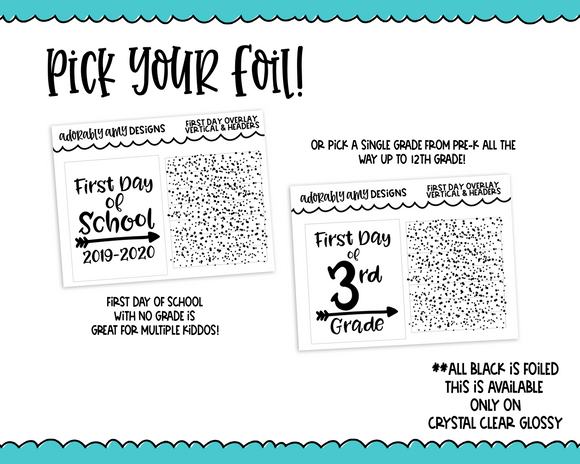 Foiled Clear Full Box First Day of School and Glitter Header Overlay Combo Set Planner Stickers for Erin Condren, Plum Planner, Happy Planner, TN, or Any Size Planners