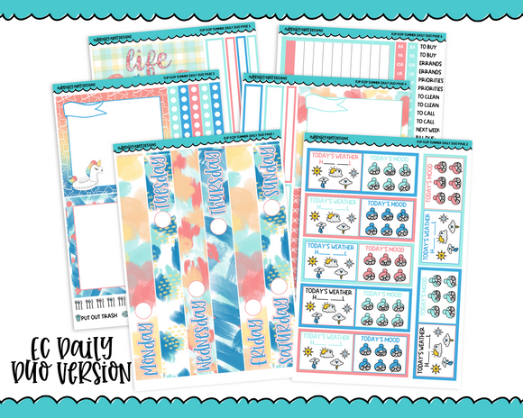 Daily Duo Flip Flop Summer Pool Fun and Summer Inspired Weekly Planner Sticker Kit for Daily Duo Planner - Adorably Amy Designs