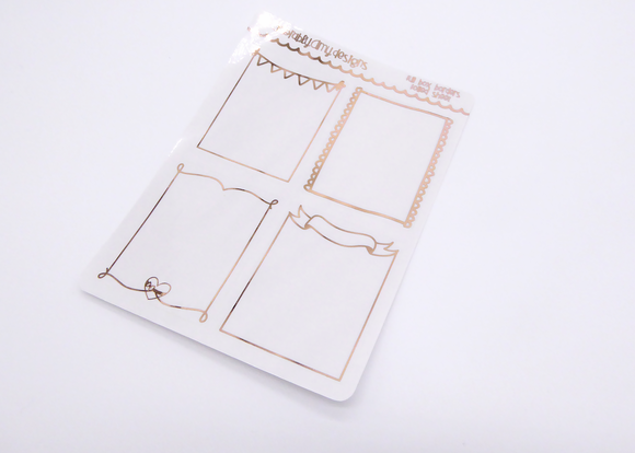 Foiled Clear Full Box Decorative V4 Overlay Planner Stickers for any Planner or Insert - Adorably Amy Designs