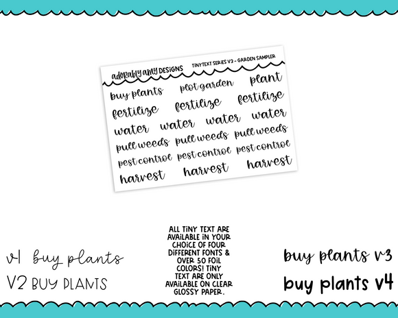 Foiled Tiny Text Series - Garden Sampler Checklist Size Planner Stickers for any Planner or Insert