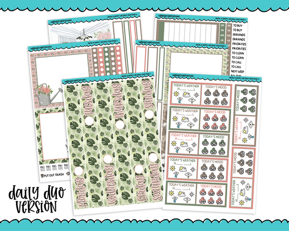 Daily Duo Grow a Happy Life Plant Themed Weekly Planner Sticker Kit for Daily Duo Planner - Adorably Amy Designs