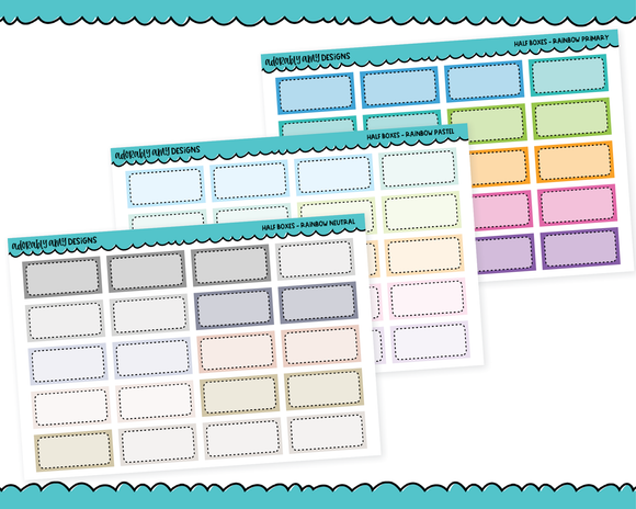 Rainbow Half Box Reminder Planner Stickers for any Planner or Insert