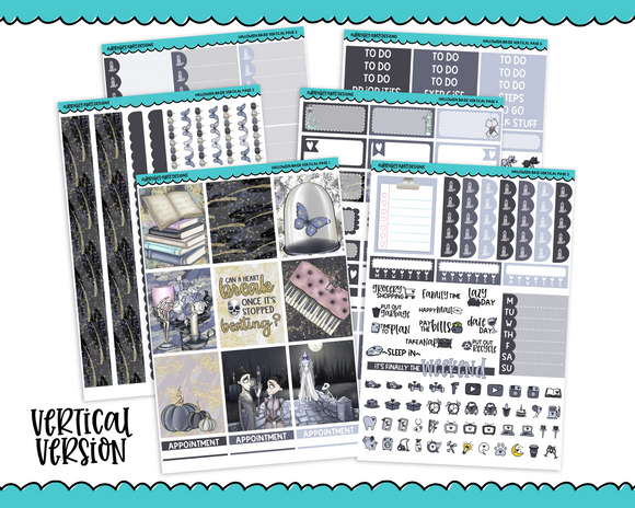 Vertical Halloween Corpse Bride Movie Themed Planner Sticker Kit for Vertical Standard Size Planners or Inserts