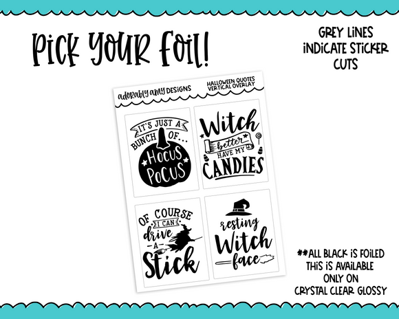 Foiled Clear Full Box Overlay Halloween Quotes Planner Stickers for Erin Condren, Plum Planner, Happy Planner, TN, or Any Size Planners - Adorably Amy Designs