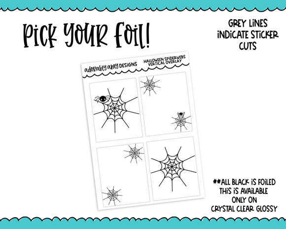Foiled Clear Full Box Overlay Spiderwebs Halloween Borders Planner Stickers for Erin Condren, Plum Planner, Happy Planner, TN, or Any Size Planners - Adorably Amy Designs