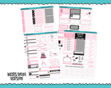 PP Weeks OR PP B6 Weeks Happy Birthday Girl Pink and Black Birthday Themed Weekly Planner Sticker Kit sized for PP Weeks or PP B6 Weeks Planner or ANY Vertical Insert