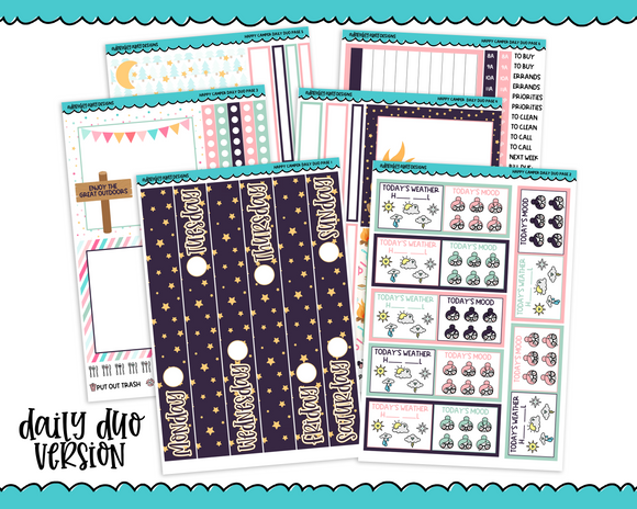 Daily Duo Happy Camper Outdoors Camping Glamping Themed Weekly Planner Sticker Kit for Daily Duo Planner - Adorably Amy Designs