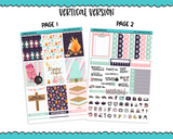 Vertical Happy Camper Outdoors Camping Glamping Themed Planner Sticker Kit for Vertical Standard Size Planners or Inserts - Adorably Amy Designs