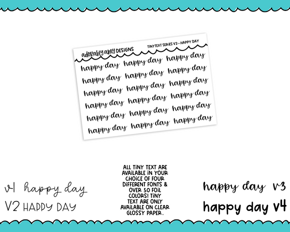 Foiled Tiny Text Series - Happy Day Checklist Size Planner Stickers for any Planner or Insert