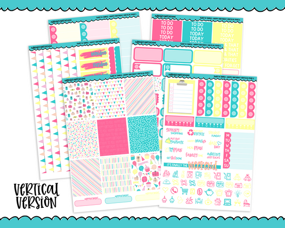 Vertical Sweet n Simple Happy Birthday Patterns Planner Sticker Kit for Erin Condren, Happy Planner or Any Other Planner - Adorably Amy Designs