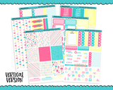 Vertical Sweet n Simple Happy Birthday Patterns Planner Sticker Kit for Vertical Standard Size Planners or Inserts - Adorably Amy Designs