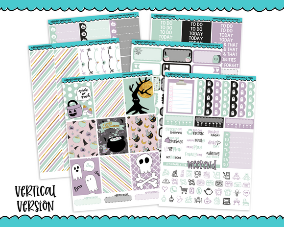 Vertical Happy Haunting Pastel Doodled Halloween Themed Planner Sticker Kit for Erin Condren, Happy Planner or Any Other Planner - Adorably Amy Designs