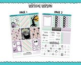 Vertical Happy Haunting Pastel Doodled Halloween Themed Planner Sticker Kit for Vertical Standard Size Planners or Inserts - Adorably Amy Designs