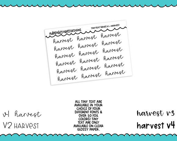 Foiled Tiny Text Series - Harvest Checklist Size Planner Stickers for any Planner or Insert
