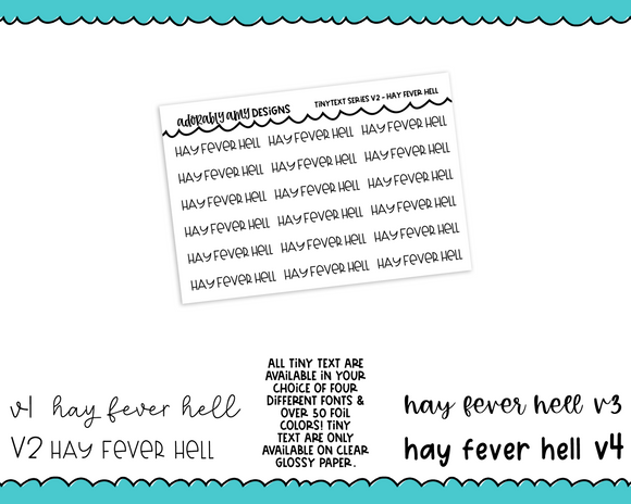 Foiled Tiny Text Series - Hay Fever Hell Checklist Size Planner Stickers for any Planner or Insert