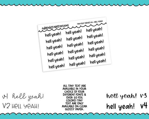 Foiled Tiny Text Series - Hell Yeah! Checklist Size Planner Stickers for any Planner or Insert