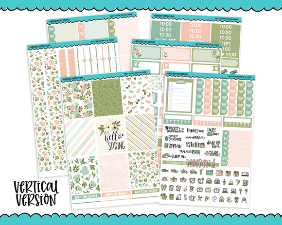 Vertical Hello Spring Pastel Planner Sticker Kit for Vertical Standard Size Planners or Inserts