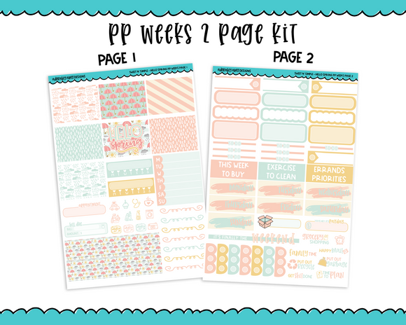 PP Weeks Sweet n Simple Hello Spring Patterns Weekly Kit sized for PP Weeks Planner or ANY Vertical Insert - Adorably Amy Designs