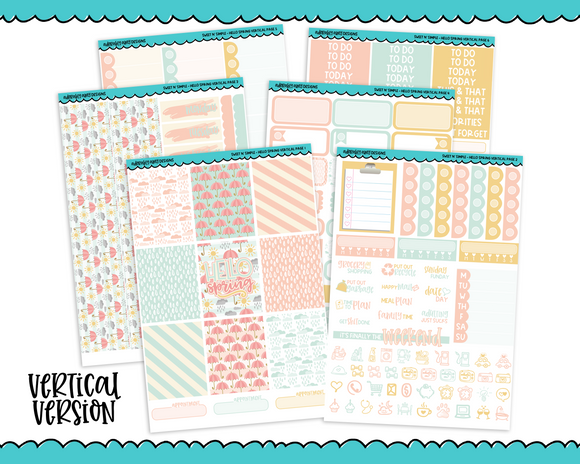 Vertical Sweet n Simple Hello Spring Patterns Planner Sticker Kit for Erin Condren, Happy Planner or Any Other Planner - Adorably Amy Designs