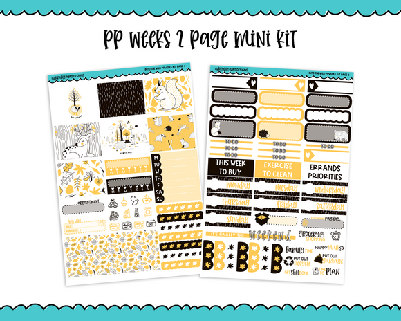 PP Weeks Into the Wild Graphic Style Fall Autumn Woodland Creatures Themed Weekly Kit sized for PP Weeks Planner or ANY Vertical Insert - Adorably Amy Designs