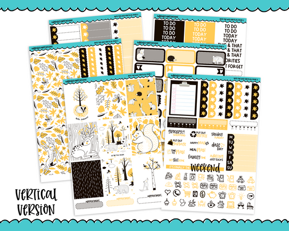 Vertical Into the Wild Graphic Style Fall Autumn Woodland Creatures Themed Planner Sticker Kit for Erin Condren, Happy Planner or Any Other Planner