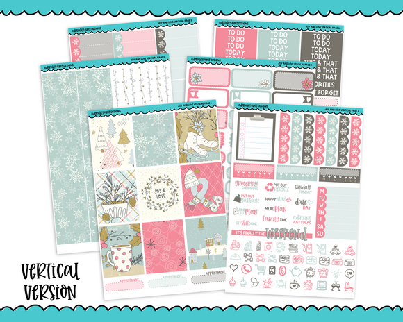 Vertical Joy and Love Winter Themed Planner Sticker Kit for Erin Condren, Happy Planner or Any Other Planner - Adorably Amy Designs
