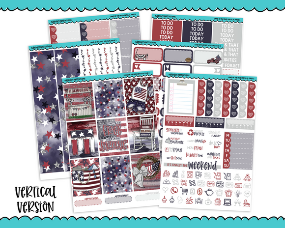 Vertical Land of the Free Independence Day Fourth of July Themed Planner Sticker Kit for Vertical Standard Size Planners or Inserts - Adorably Amy Designs