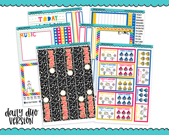 Daily Duo Learn Something Back to School Themed Weekly Planner Sticker Kit for Daily Duo Planner - Adorably Amy Designs