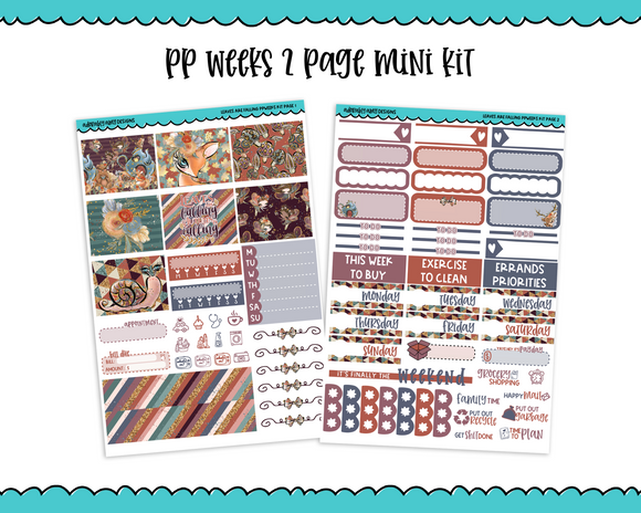 PP Weeks Leaves are Falling Woodland Fall Fairy Whimsical Creatures Themed Weekly Kit sized for PP Weeks Planner or ANY Vertical Insert - Adorably Amy Designs