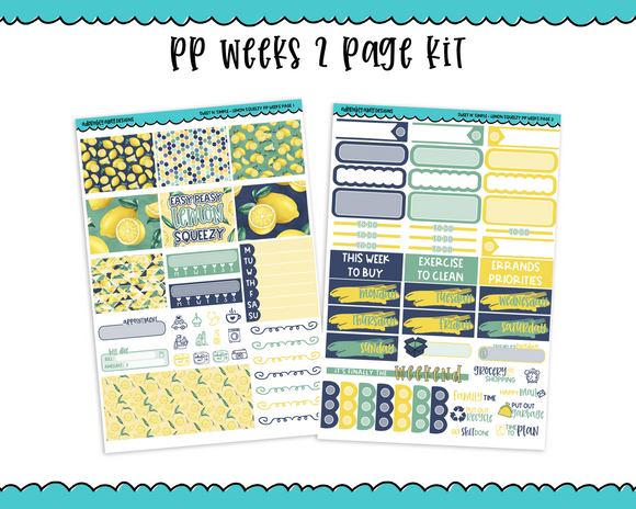 PP Weeks Sweet n Simple Lemon Squeezy Patterns Weekly Kit sized for PP Weeks Planner or ANY Vertical Insert - Adorably Amy Designs
