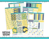 Vertical Sweet n Simple Lemon Squeezy Patterns Planner Sticker Kit for Vertical Standard Size Planners or Inserts - Adorably Amy Designs